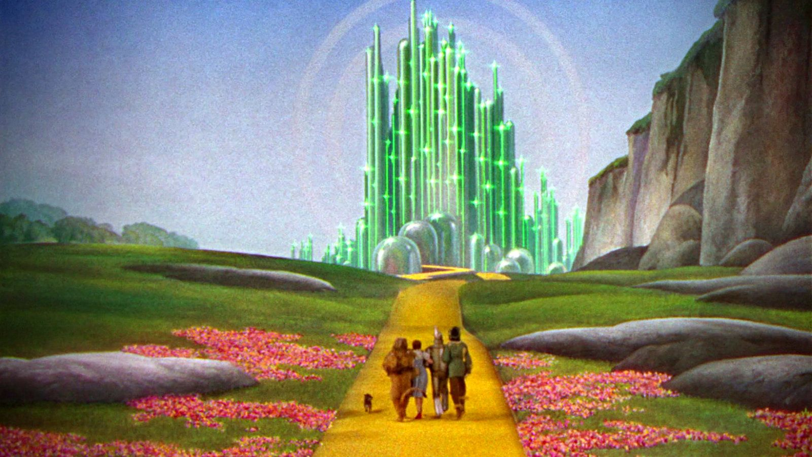 """Bert Lahr, Judy Garland, Jack Haley, and Ray Bolger in """"The Wizard of Oz"""" movie"""