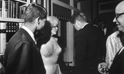 Marilyn Monroe, John F. Kennedy, and Robert F. Kennedy in historical 1962 Hollywood photo