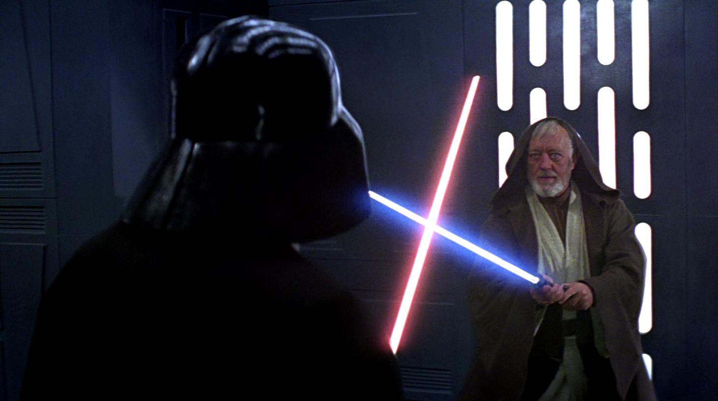 Obi-Wan Kenobi and Darth Vader duel