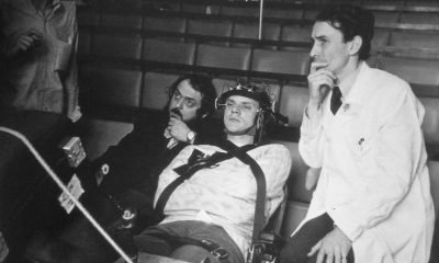 Malcolm McDowell and Stanley Kubrick behind the scenes of A Clockwork Orange