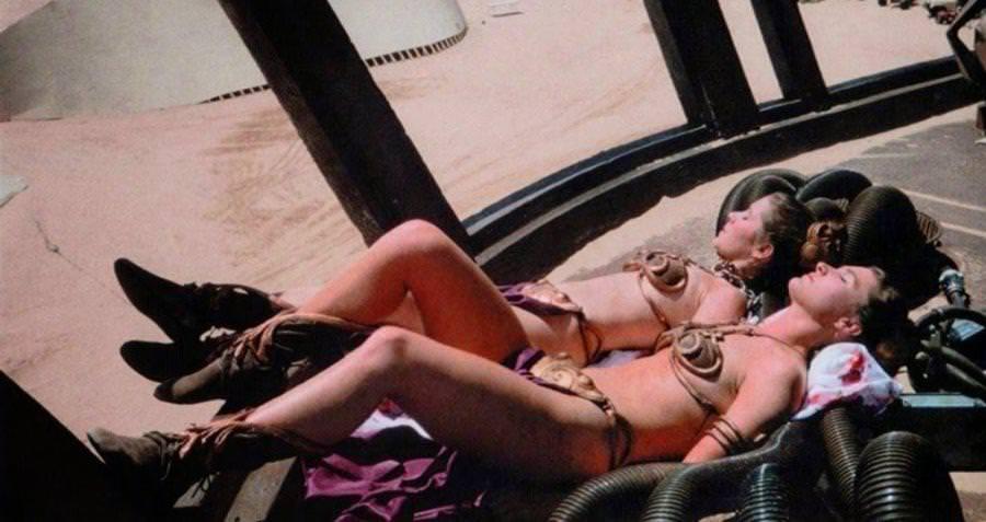 Carrie Fisher Sunbathing