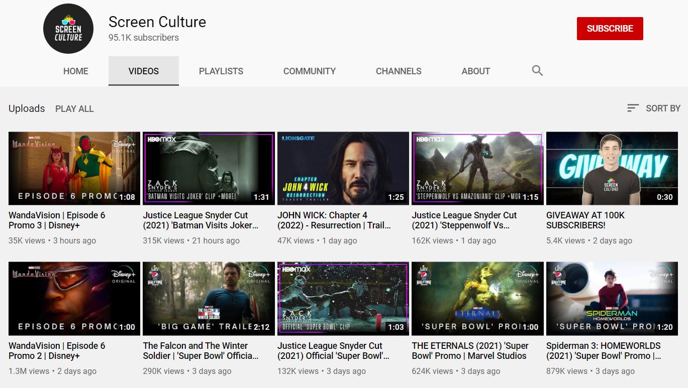 Screen Culture YouTube Channel Metaflix